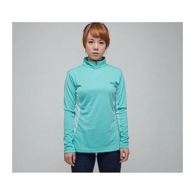 Gfun 女款立領麻花款排汗衫(咖啡紗機能)-麻花冰綠(G5WSSL2-green)