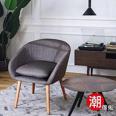 C est Chic_黑貓小夜曲復古單人椅-深灰色