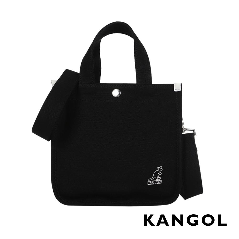 KANGOL 韓版極簡玩色-MINI帆布斜背小方包-黑AKG1215