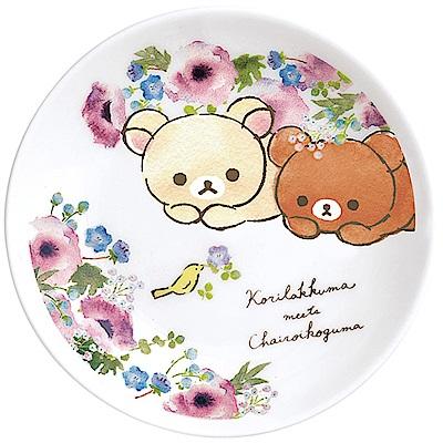 懶妹蜂蜜小熊的粉彩花園系列陶瓷盤 小。粉 San-X