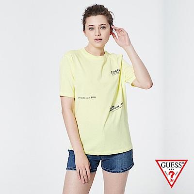 GUESS-女裝-簡約美式文字LOGO個性短T,T恤-黃 原價1390