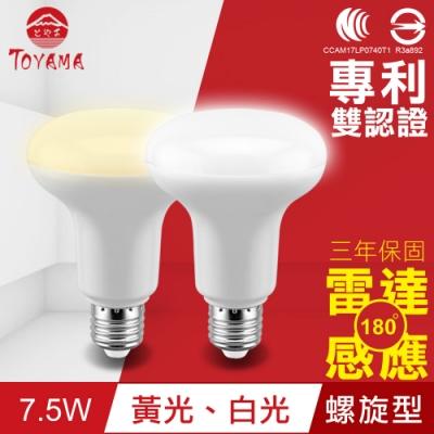 TOYAMA特亞馬 LED雷達感應燈7.5W E27螺旋型(白光、黃光任選)x4件