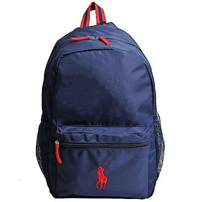 POLO Ralph Lauren 品牌紅色小馬LOGO圖騰刺繡尼龍後背包(深藍)