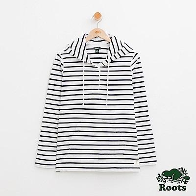 Roots -女裝-條紋連帽上衣- 白