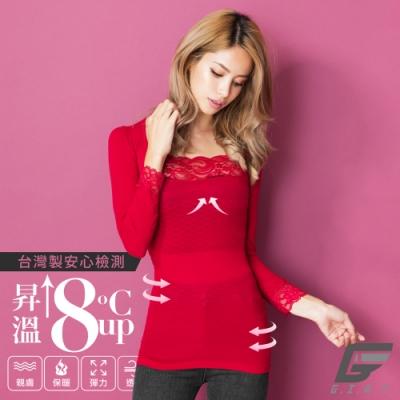 GIAT台灣製150D蕾絲美型機能保暖衣(袖接蕾絲-蔚瓔紅)
