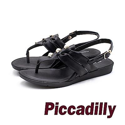 Piccadilly 時尚高雅 珍珠革質女涼鞋 -黑