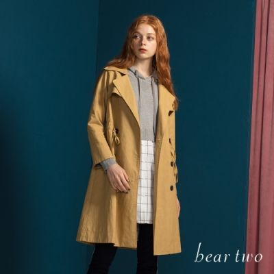 bear two- 連帽拼接格紋針織衫 - 灰