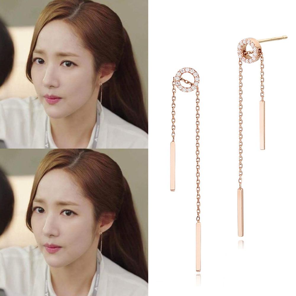 梨花HaNA 韓國925銀針金秘書為何那樣鑽圈直線耳環