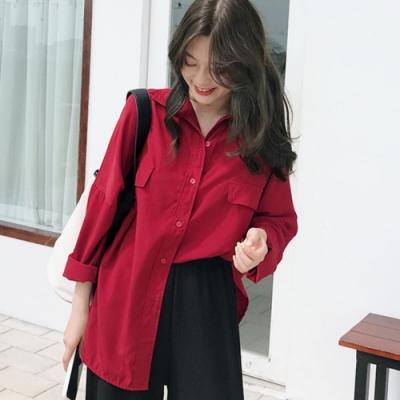 La Belleza前胸假口袋雙蓋口袋素色排釦襯衫