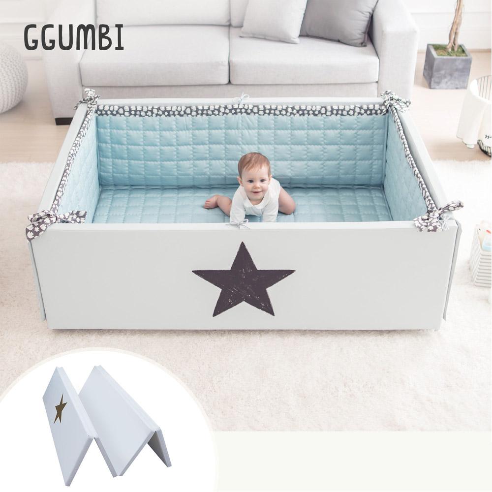 GGUMBI DreamB 韓國多功能圍欄地墊式嬰兒床-灰星星