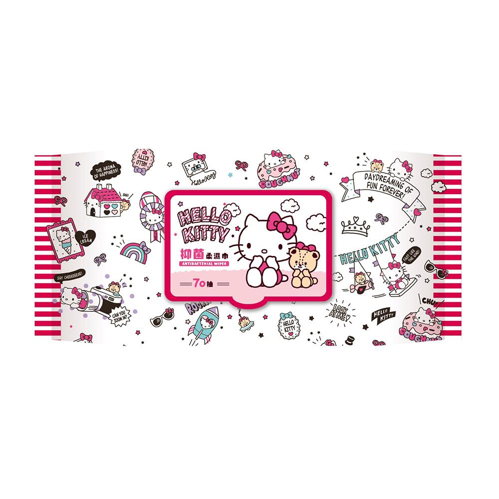 Hello Kitty 凱蒂貓抑菌有蓋柔濕巾/濕紙巾 (加蓋) 70 抽 X 16 包