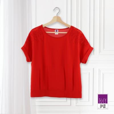 ILEY伊蕾 燙鑽蕾絲刺繡連袖上衣(黑/紅)