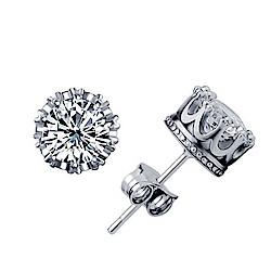 米蘭精品 925純銀耳環-閃亮皇冠鑲鑽耳環