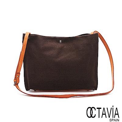 OCTAVIA 8 - 空空的 四角極簡牛皮帶帆布包 -稀缺咖
