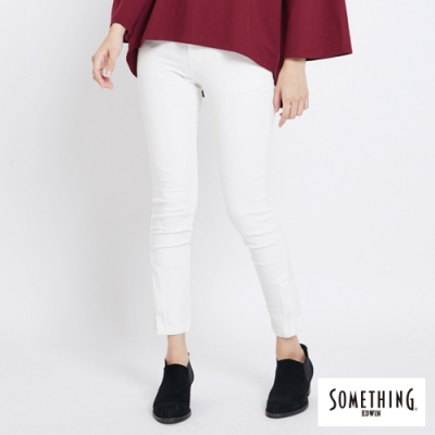 SOMETHING 細條絨彈性 窄直筒休閒褲-女-白色