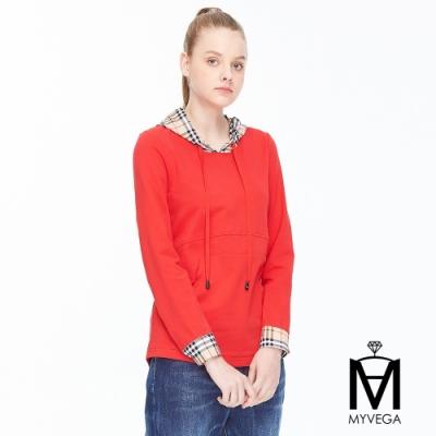 麥雪爾 MA棉質格紋拼接連帽T恤-紅