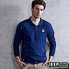 JEEP 美國棕熊碎花POLO衫 合身版-藍