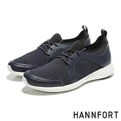 HANNFORT ICE編織網布流線休閒鞋-男-海軍藍
