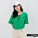 H-CONNECT 韓國品牌 女裝-趣味logo刺落肩袖口反褶T恤-綠色 product thumbnail 1