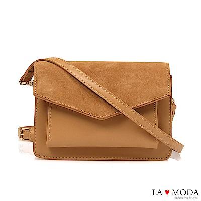 La Moda 百搭人氣款信封造型異材質拼接出遊宴會小方包(棕)