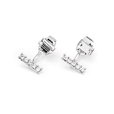 LOVER S TEMPO加拿大品牌 LEVEL水平造型鑲嵌水晶 銀色耳環