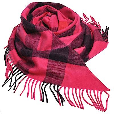 BURBERRY BANDANA 經典格紋100%喀什米爾造型三角圍巾/披肩(桃紅色)