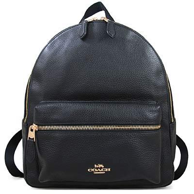 COACH 馬車Logo鵝卵石紋全皮革雙肩大後背包(黑色-大)