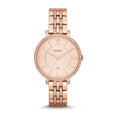 FOSSIL晶鑽質感羅馬玫瑰金腕錶ES3546