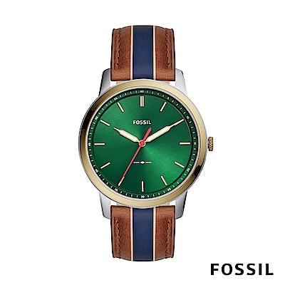 FOSSIL MINIMALIST 駝x藍色條紋極薄款皮革男錶