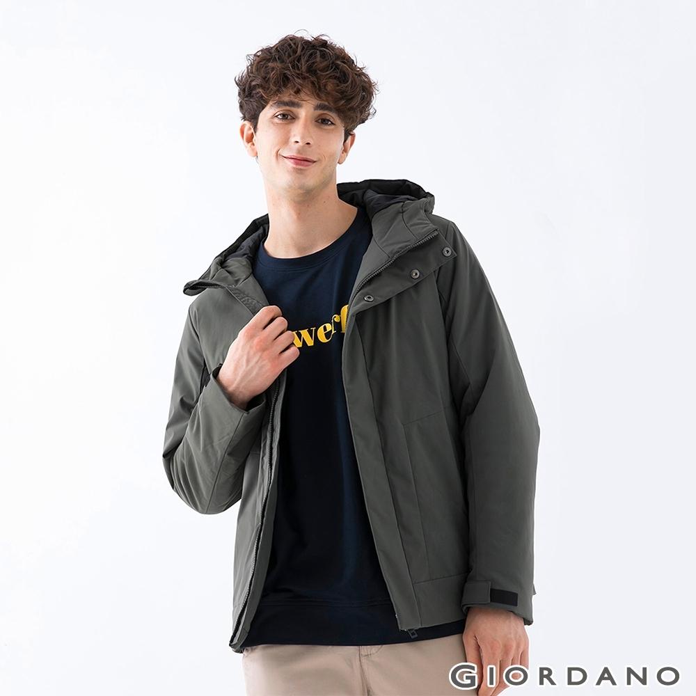 GIORDANO 男裝素色鋪棉連帽外套 - 58 甲蟲綠