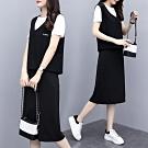 簡約大方時尚黑白拚色衣裙三件套XL-5XL-KVOLL