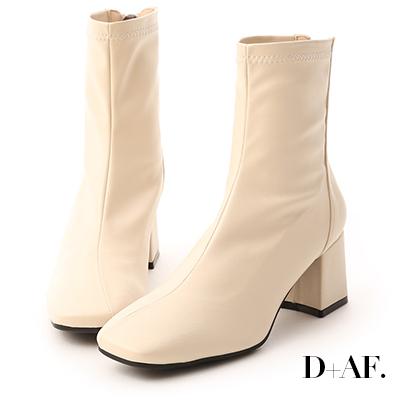 D+AF 好感話題.素面斜線方頭高跟襪靴*米白