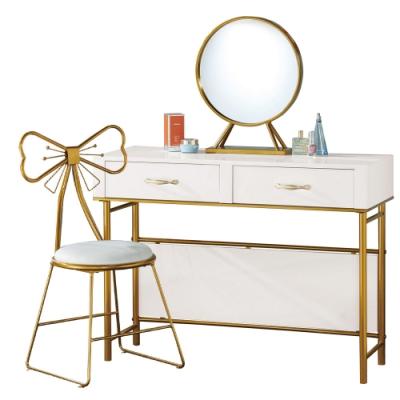文創集 巴傑倫奢華雙色3.3尺立鏡式鏡台/化妝台(含椅)-100x40x127.5cm免組