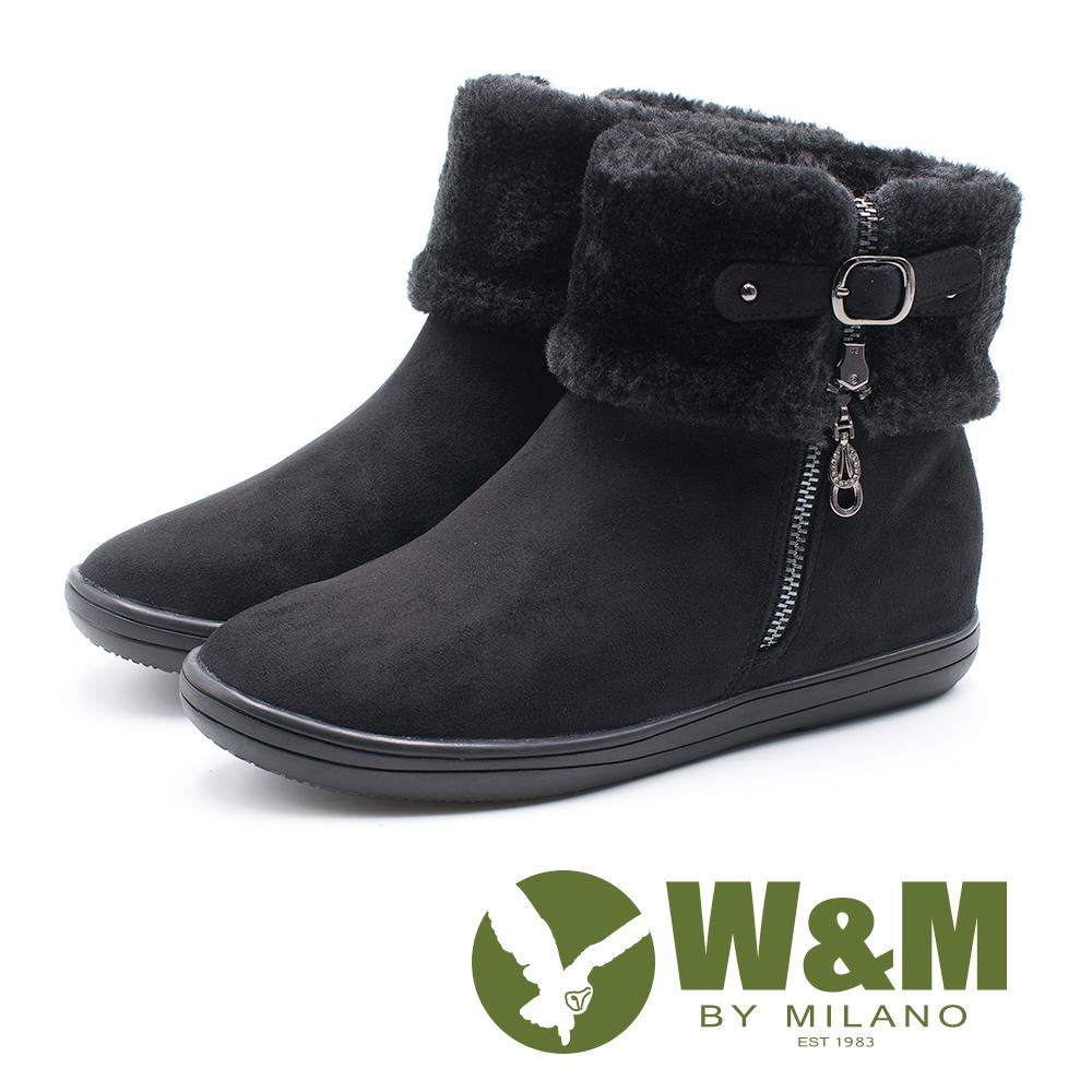 W&M 經典毛絨反摺造型拉鍊式中筒 女靴-黑(另有藍)