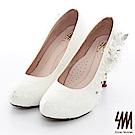 【SM】手工婚鞋-蕾絲珍珠花朵防水台圓尖頭高跟新娘鞋(2色)