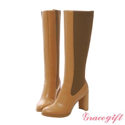Grace gift X紀卜心-聯名拼接針織高跟長靴 駝