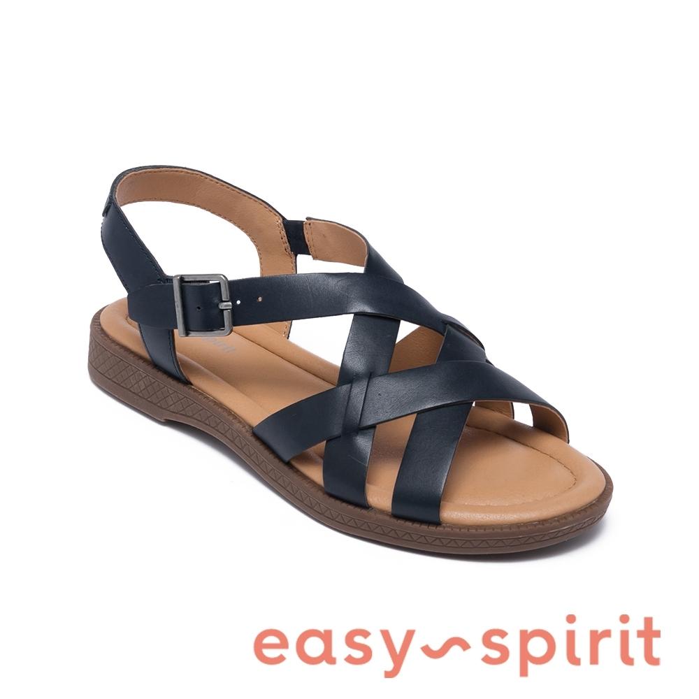 Easy Spirit-seFIONA 牛皮羅馬編織平底涼鞋-深藍色
