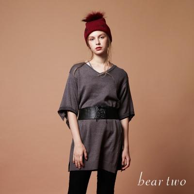 beartwo長版開衩剪裁五分袖針織衫(二色)-動態show