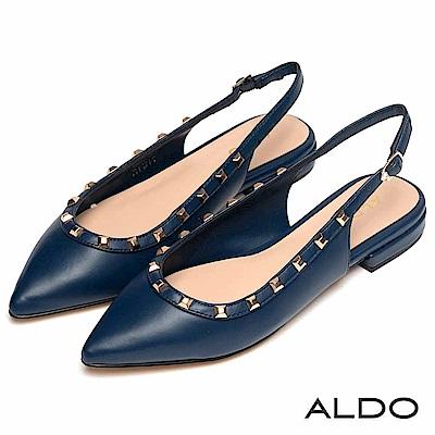 ALDO 原色佐金屬鉚釘釦綴飾拉帶式粗跟尖頭鞋~海軍藍色