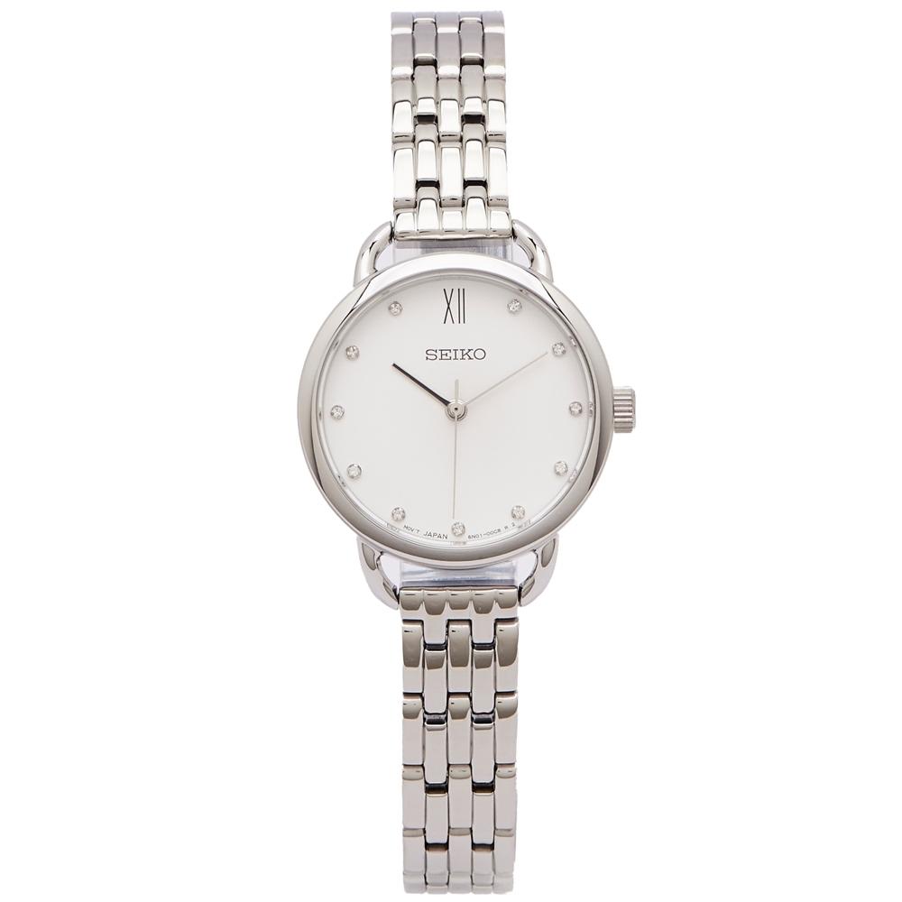 SEIKO 雅緻佳人水鑽款式手錶(SUR697P1)-白面x銀色/26mm