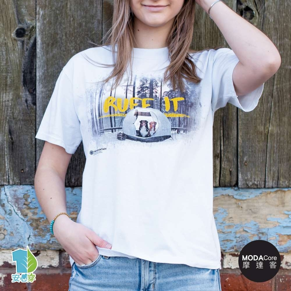 摩達客-美國進口The Mountain 狗狗露營 純棉環保藝術中性短袖T恤