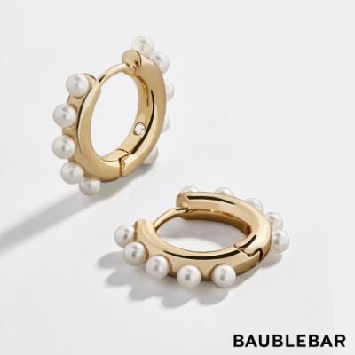 美國 BaubleBar 迷你復古珍珠鍍18K金耳圈 Sienna 18k Gold Vermeil Pearl Huggie Hoops
