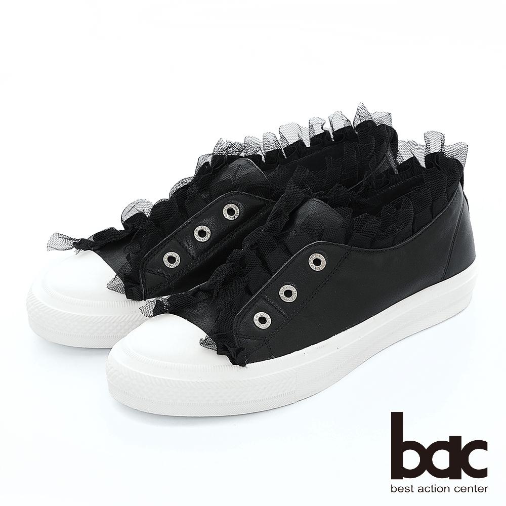 【bac】週末輕旅行 - 荷葉邊蕾絲懶人休閒鞋-黑