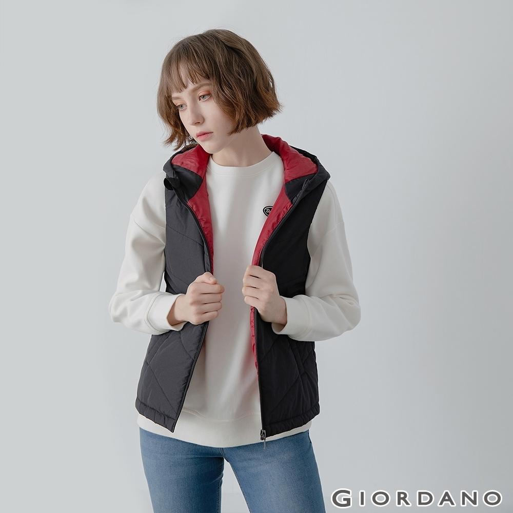 GIORDANO  女裝經典素色保暖連帽背心 - 09 標誌黑
