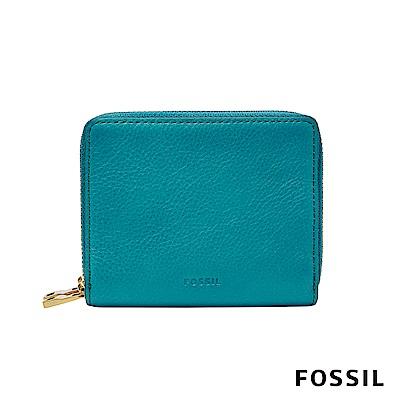 FOSSIL Mini Wallet 簡約時尚多功能拉鍊小夾-孔雀藍