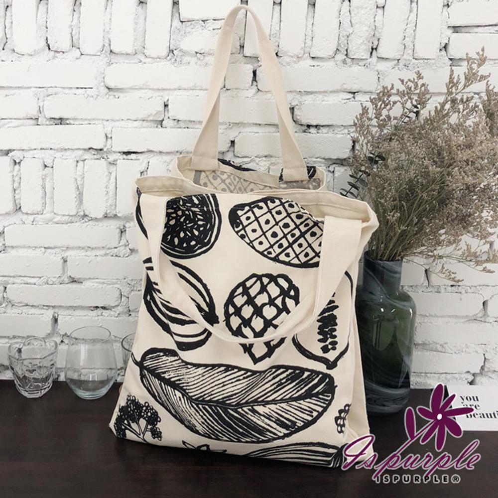 iSPurple 葉子素描 雙格帆布大容量購物單肩包