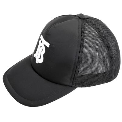 BURBERRY TB Motif  字母刺繡網眼尼龍棒球帽(黑色)