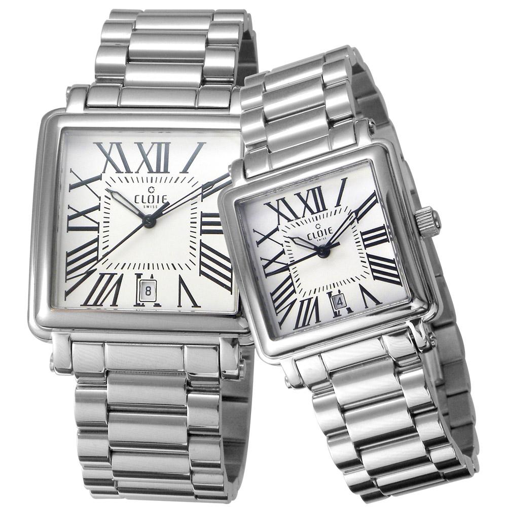 CLOIE 相愛在羅馬 時尚方型對錶-銀x白/35+28mm