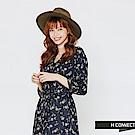 H:CONNECT 韓國品牌 女裝-綁帶造型小花長洋裝-藍