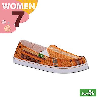 SANUK 女款US7 民俗圖騰休閒鞋(橘色)